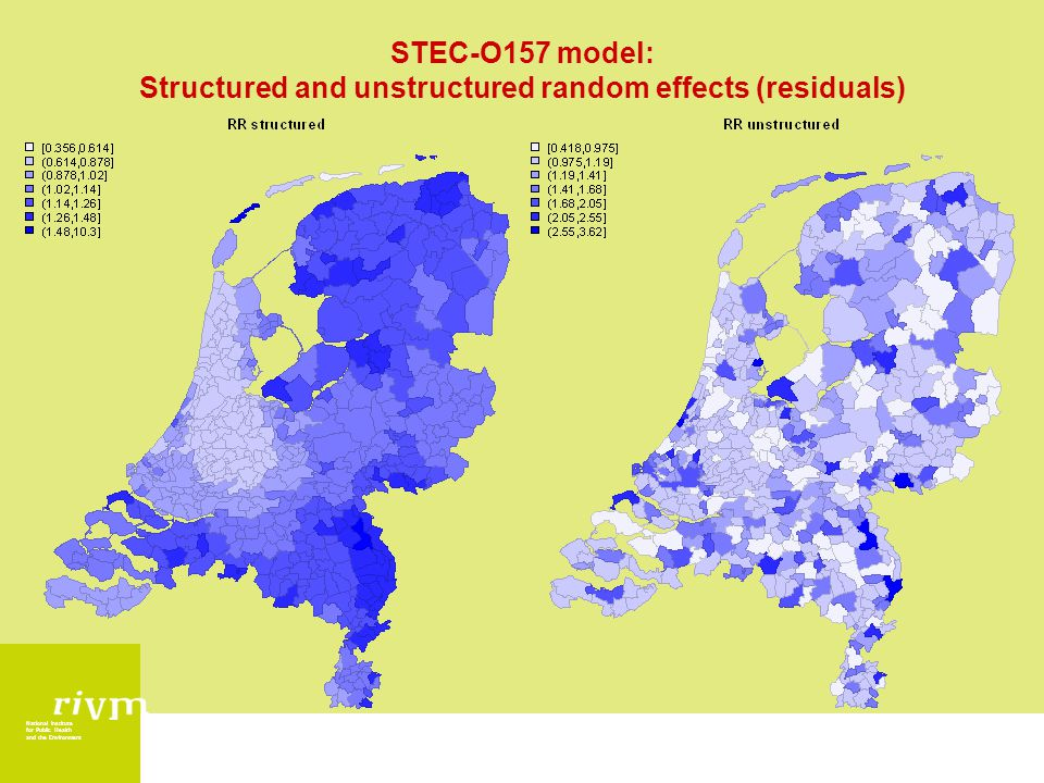 National Institute for Public Health and the Environment STEC-O157 model: Structured and unstructured random effects (residuals)