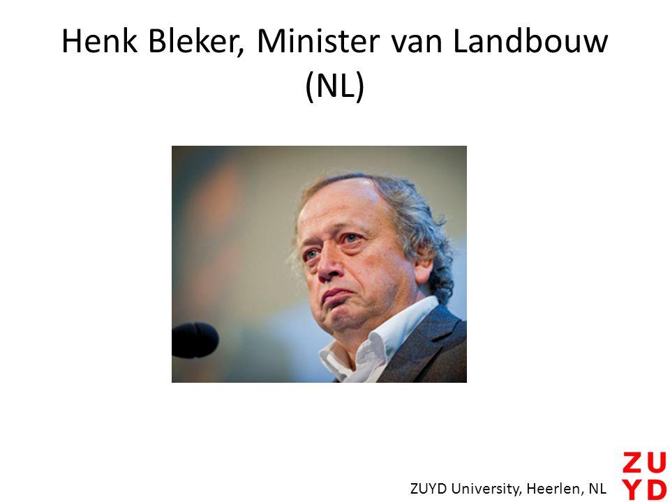 Henk Bleker, Minister van Landbouw (NL) ZUYD University, Heerlen, NL