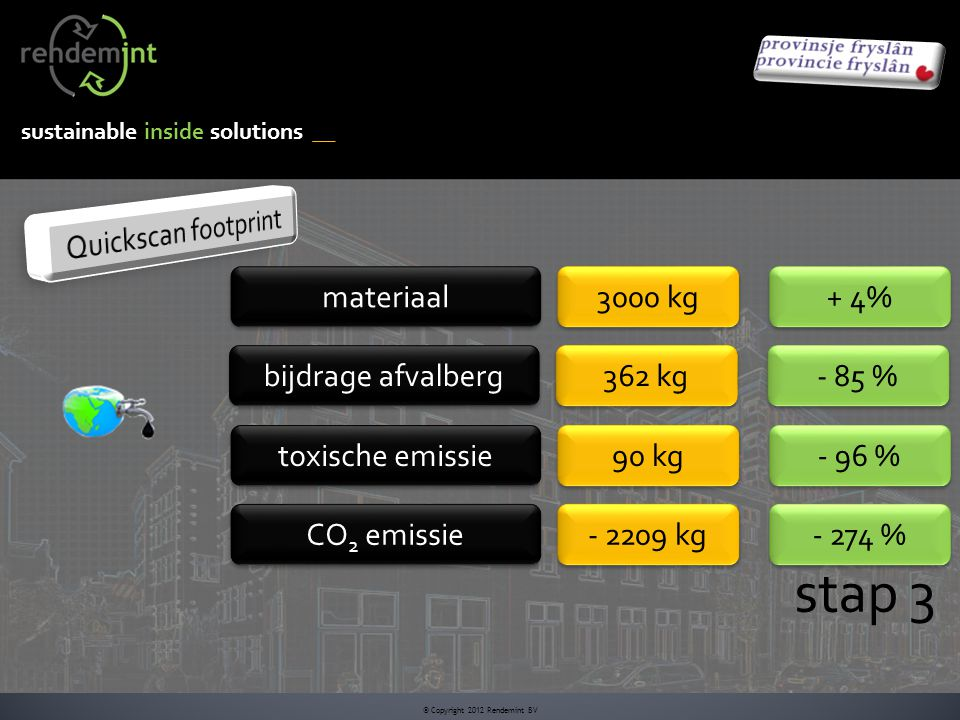 sustainable inside solutions © Copyright 2012 Rendemint BV stap 3 materiaal 3000 kg bijdrage afvalberg 362 kg toxische emissie 90 kg CO 2 emissie - 2209 kg + 4% - 85 % - 96 % - 274 %