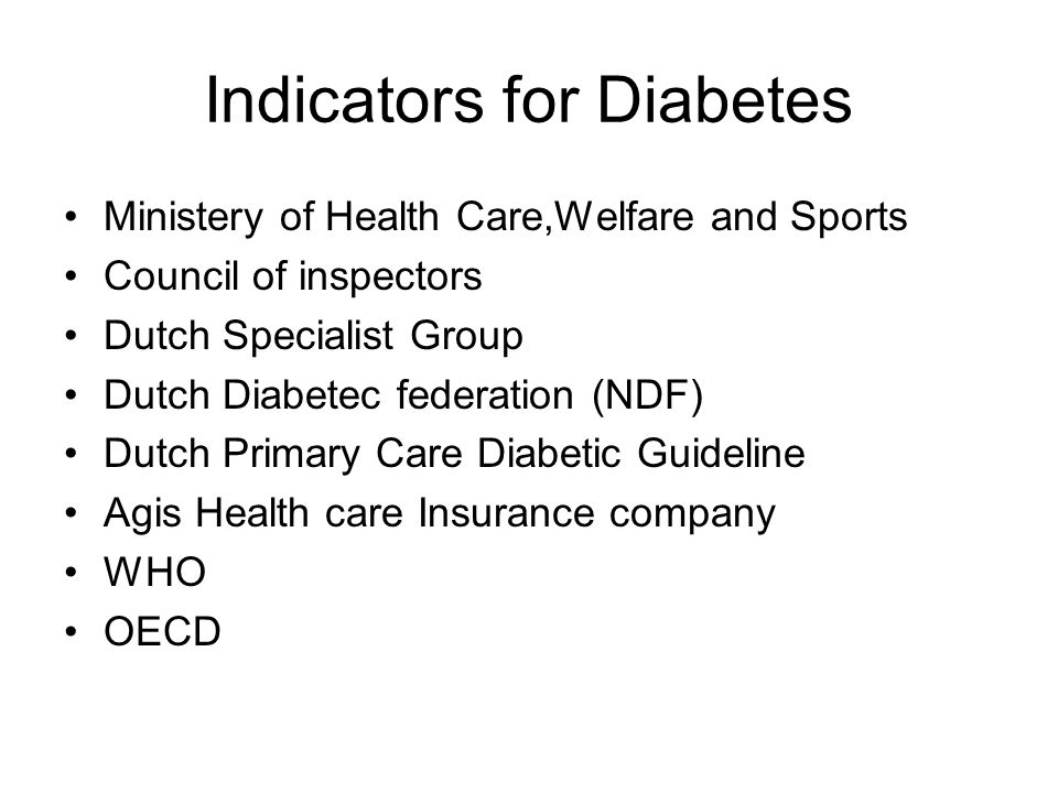Indicators for Diabetes Ministery of Health Care,Welfare and Sports Council of inspectors Dutch Specialist Group Dutch Diabetec federation (NDF) Dutch Primary Care Diabetic Guideline Agis Health care Insurance company WHO OECD