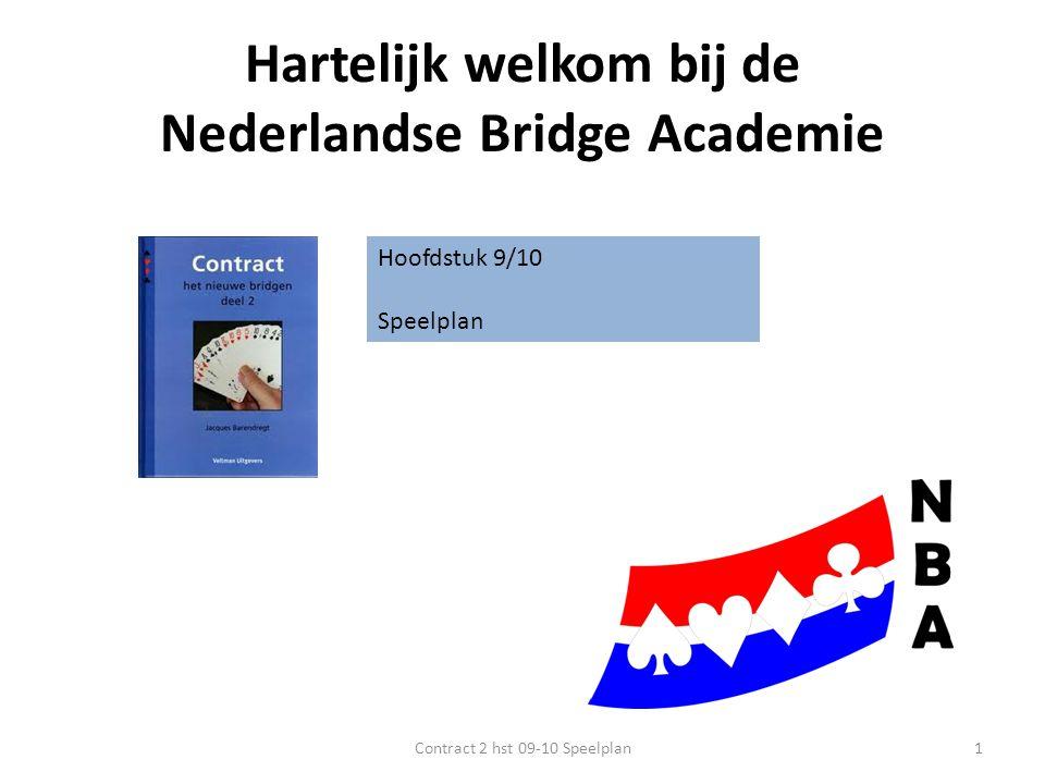 Hartelijk welkom bij de Nederlandse Bridge Academie Hoofdstuk 9/10 Speelplan 1Contract 2 hst 09-10 Speelplan