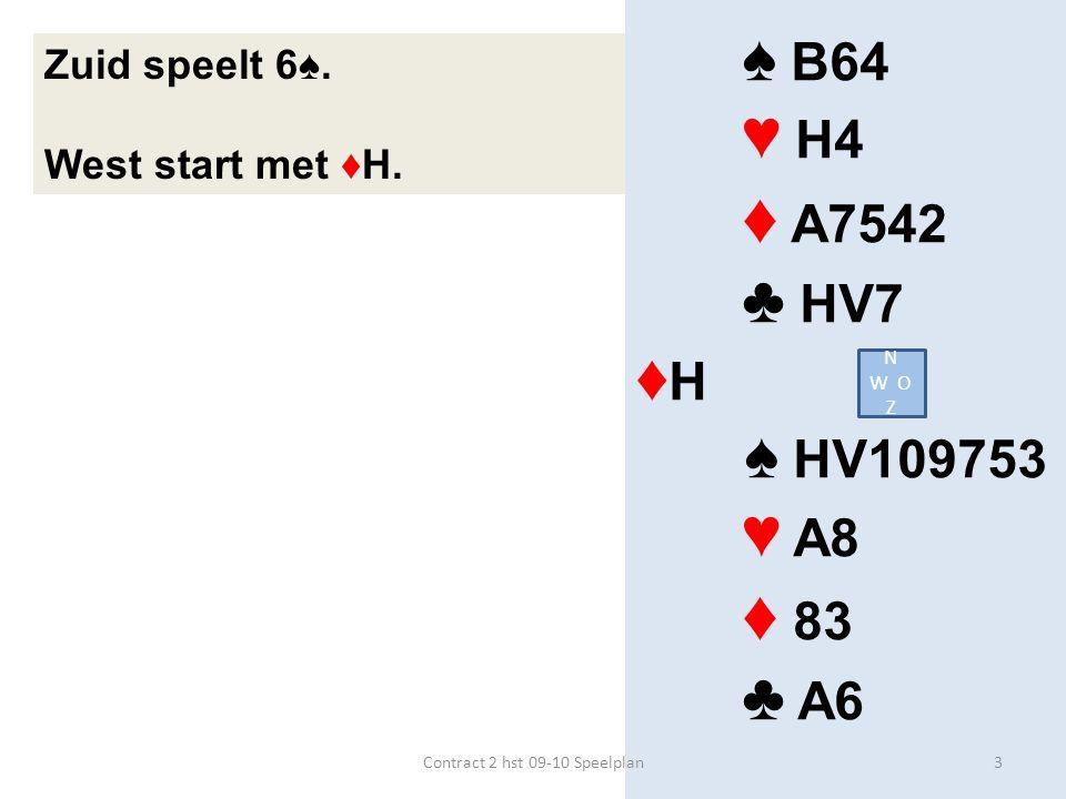 ♠ H64 ♥ 63 ♦ HB63 ♣ HB63 ♥ H ♠ A53 ♥ A42 ♦ AV52 ♣ V108 Zuid speelt 3SA.