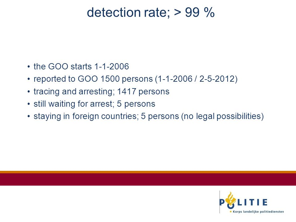 detection rate; > 99 % the GOO starts 1-1-2006 reported to GOO 1500 persons (1-1-2006 / 2-5-2012) tracing and arresting; 1417 persons still waiting for arrest; 5 persons staying in foreign countries; 5 persons (no legal possibilities)