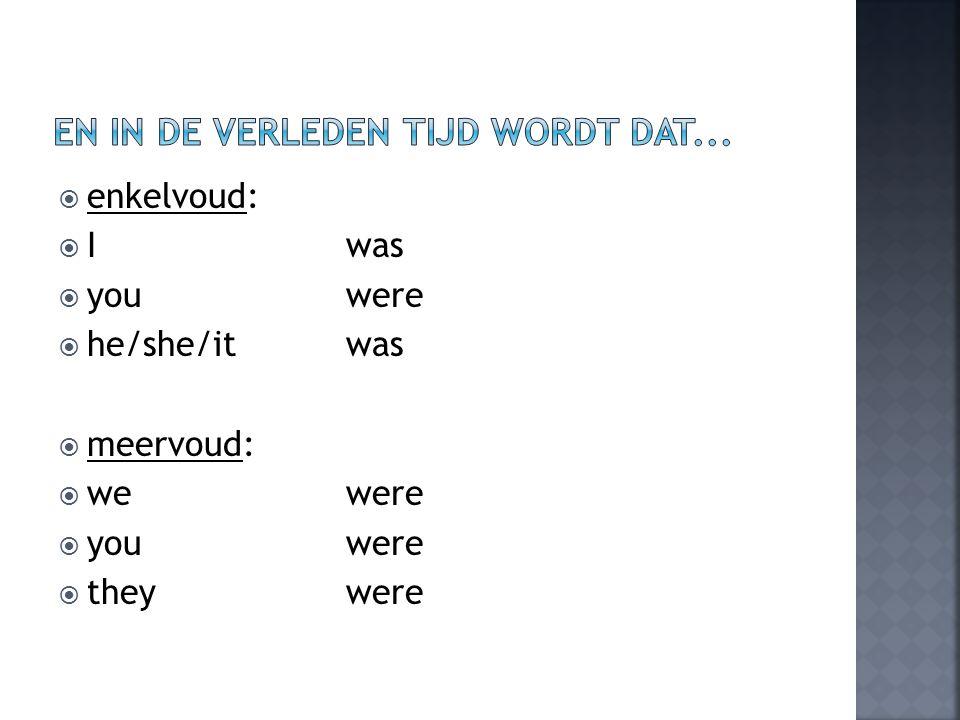  enkelvoud:  I was  youwere  he/she/itwas  meervoud:  wewere  youwere  theywere