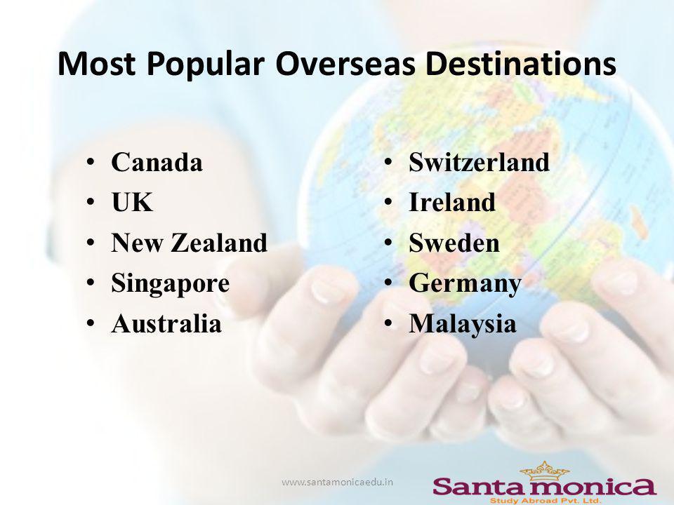 Most Popular Overseas Destinations Canada UK New Zealand Singapore Australia Switzerland Ireland Sweden Germany Malaysia www.santamonicaedu.in