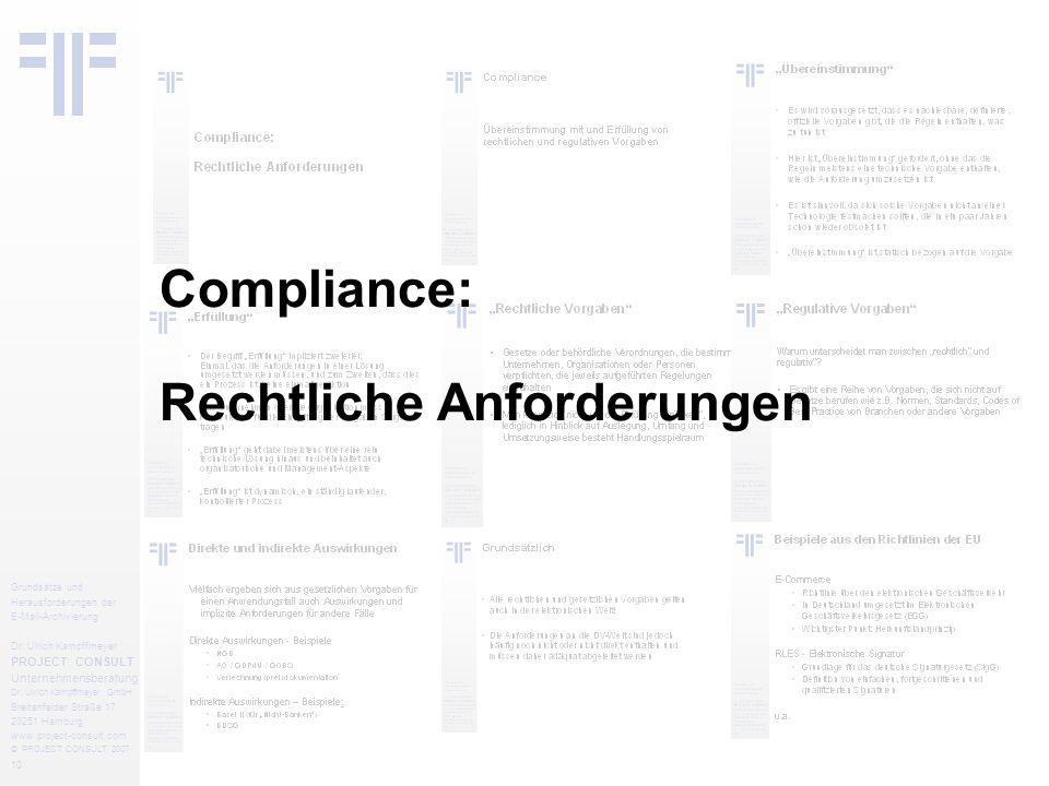 10 Grundsätze und Herausforderungen der E-Mail-Archivierung Dr.