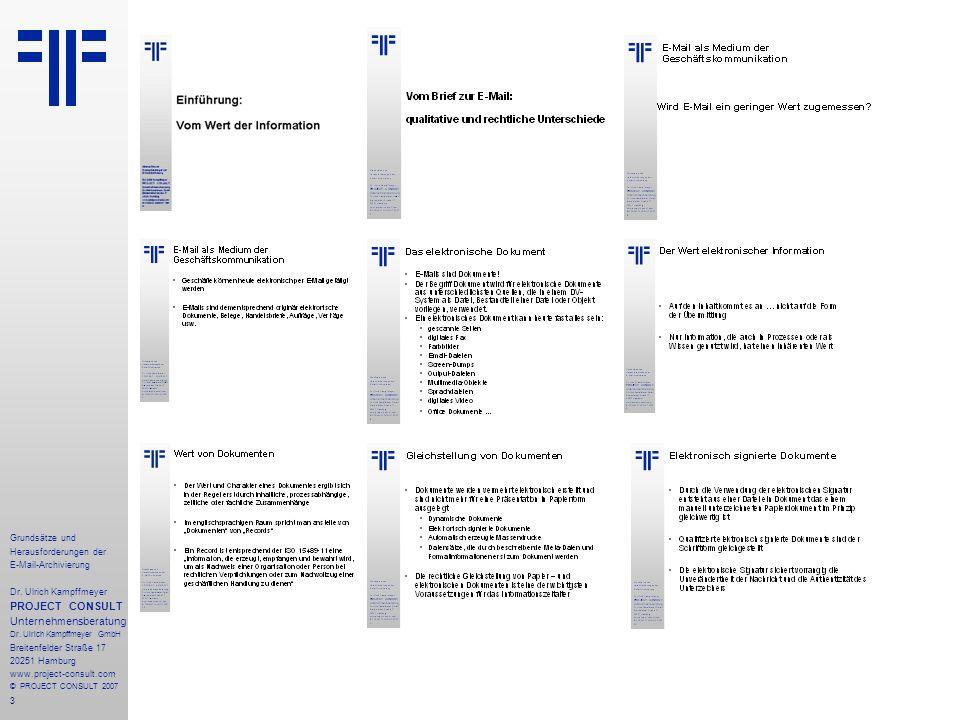 14 Grundsätze und Herausforderungen der E-Mail-Archivierung Dr.