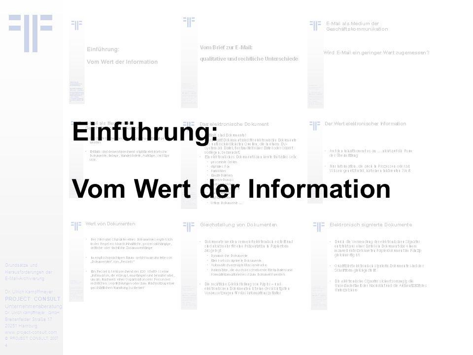 25 Grundsätze und Herausforderungen der E-Mail-Archivierung Dr.