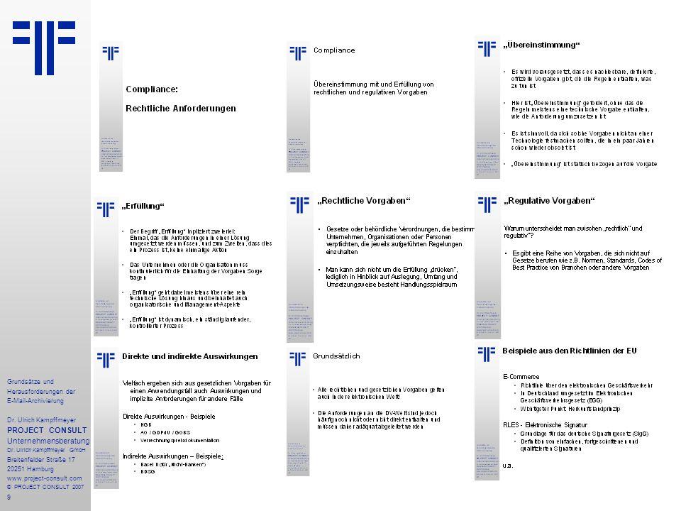 9 Grundsätze und Herausforderungen der E-Mail-Archivierung Dr.