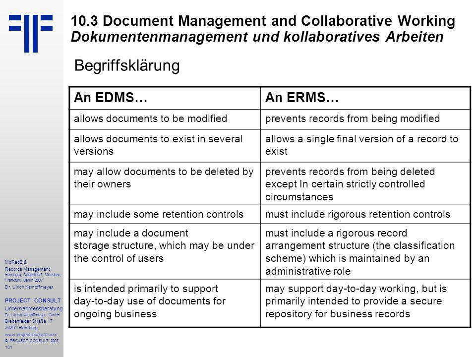 101 MoReq2 & Records Management Hamburg, Düsseldorf, München, Frankfurt, Berlin 2007 Dr.