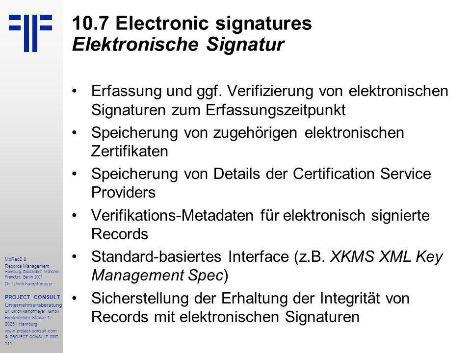 111 MoReq2 & Records Management Hamburg, Düsseldorf, München, Frankfurt, Berlin 2007 Dr.
