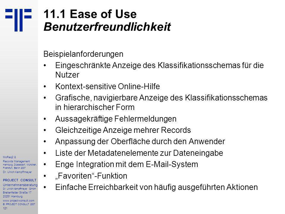 121 MoReq2 & Records Management Hamburg, Düsseldorf, München, Frankfurt, Berlin 2007 Dr.
