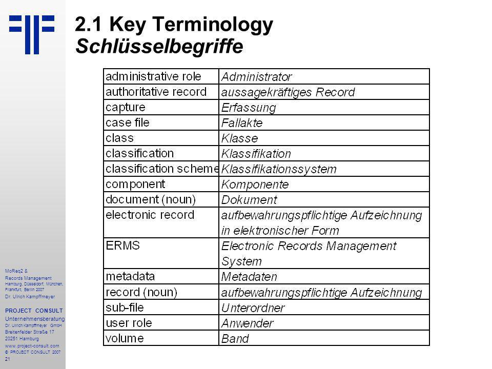 21 MoReq2 & Records Management Hamburg, Düsseldorf, München, Frankfurt, Berlin 2007 Dr.