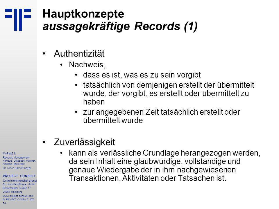 24 MoReq2 & Records Management Hamburg, Düsseldorf, München, Frankfurt, Berlin 2007 Dr.
