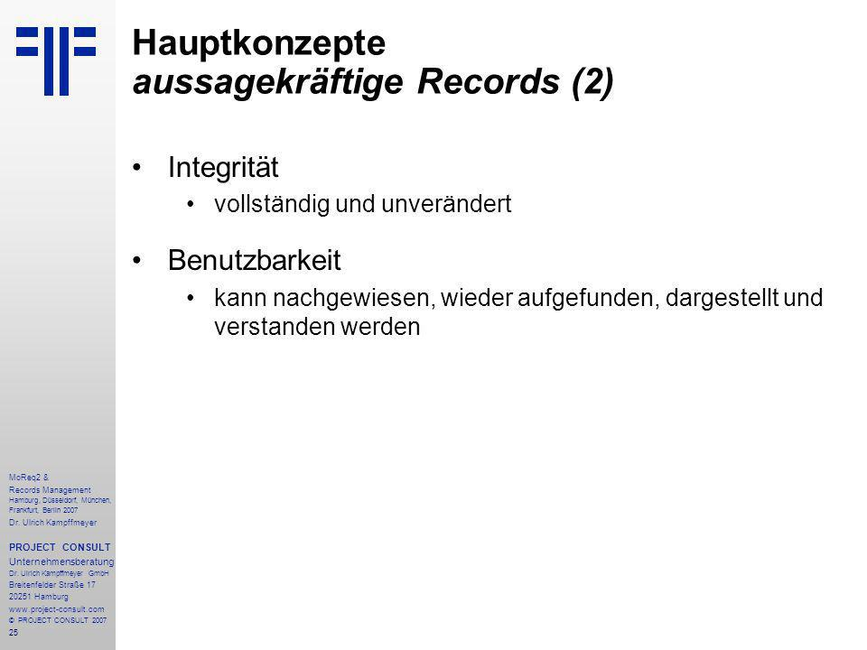 25 MoReq2 & Records Management Hamburg, Düsseldorf, München, Frankfurt, Berlin 2007 Dr.