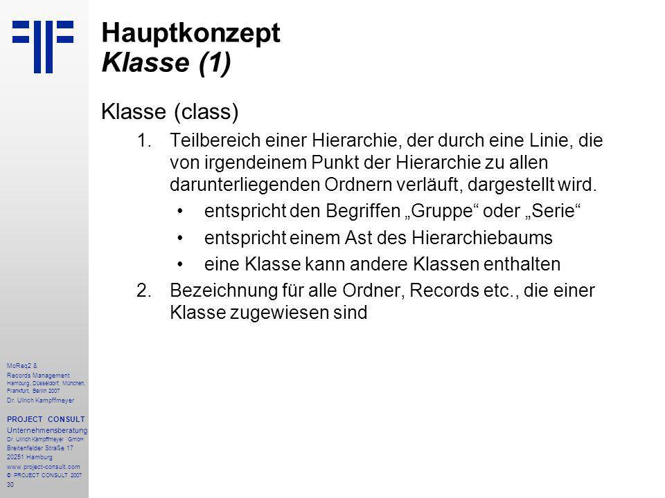 30 MoReq2 & Records Management Hamburg, Düsseldorf, München, Frankfurt, Berlin 2007 Dr.