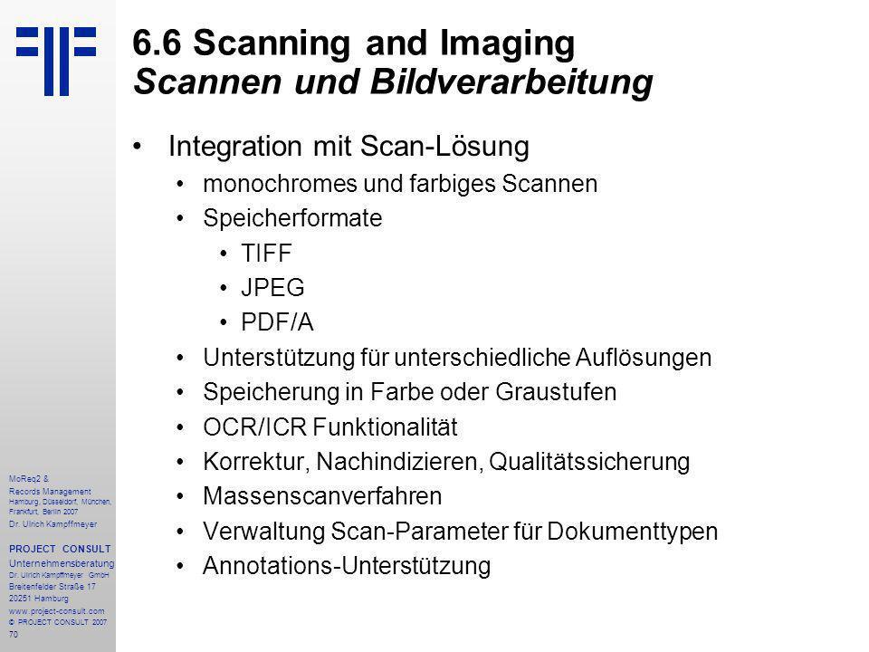 70 MoReq2 & Records Management Hamburg, Düsseldorf, München, Frankfurt, Berlin 2007 Dr.