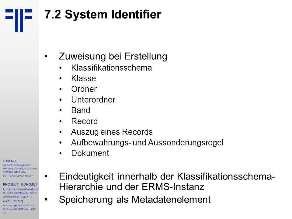 79 MoReq2 & Records Management Hamburg, Düsseldorf, München, Frankfurt, Berlin 2007 Dr.