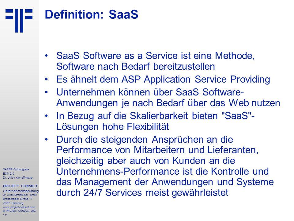 111 SAPERIONcongress ECM 2.0 Dr.Ulrich Kampffmeyer PROJECT CONSULT Unternehmensberatung Dr.