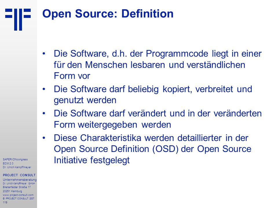119 SAPERIONcongress ECM 2.0 Dr.Ulrich Kampffmeyer PROJECT CONSULT Unternehmensberatung Dr.