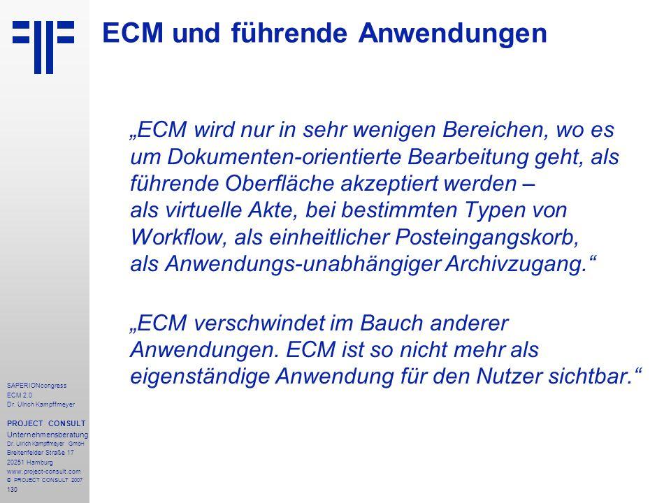 130 SAPERIONcongress ECM 2.0 Dr.Ulrich Kampffmeyer PROJECT CONSULT Unternehmensberatung Dr.