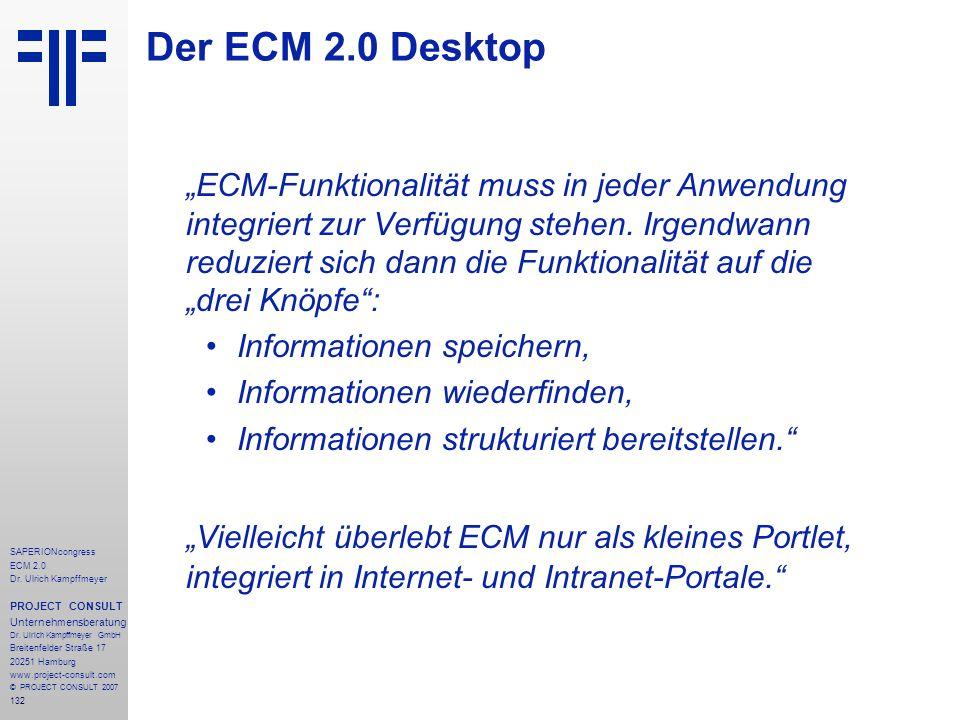 132 SAPERIONcongress ECM 2.0 Dr.Ulrich Kampffmeyer PROJECT CONSULT Unternehmensberatung Dr.