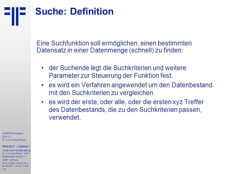 147 SAPERIONcongress ECM 2.0 Dr.Ulrich Kampffmeyer PROJECT CONSULT Unternehmensberatung Dr.