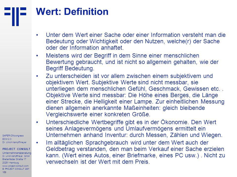 169 SAPERIONcongress ECM 2.0 Dr.Ulrich Kampffmeyer PROJECT CONSULT Unternehmensberatung Dr.