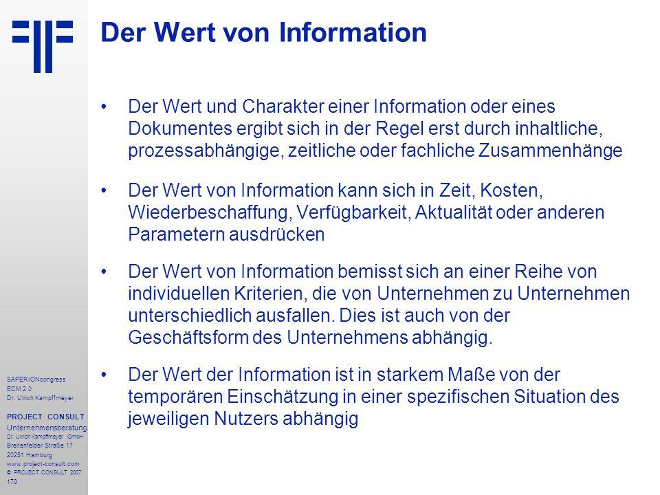 170 SAPERIONcongress ECM 2.0 Dr.Ulrich Kampffmeyer PROJECT CONSULT Unternehmensberatung Dr.