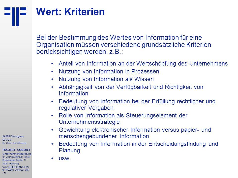 171 SAPERIONcongress ECM 2.0 Dr.Ulrich Kampffmeyer PROJECT CONSULT Unternehmensberatung Dr.