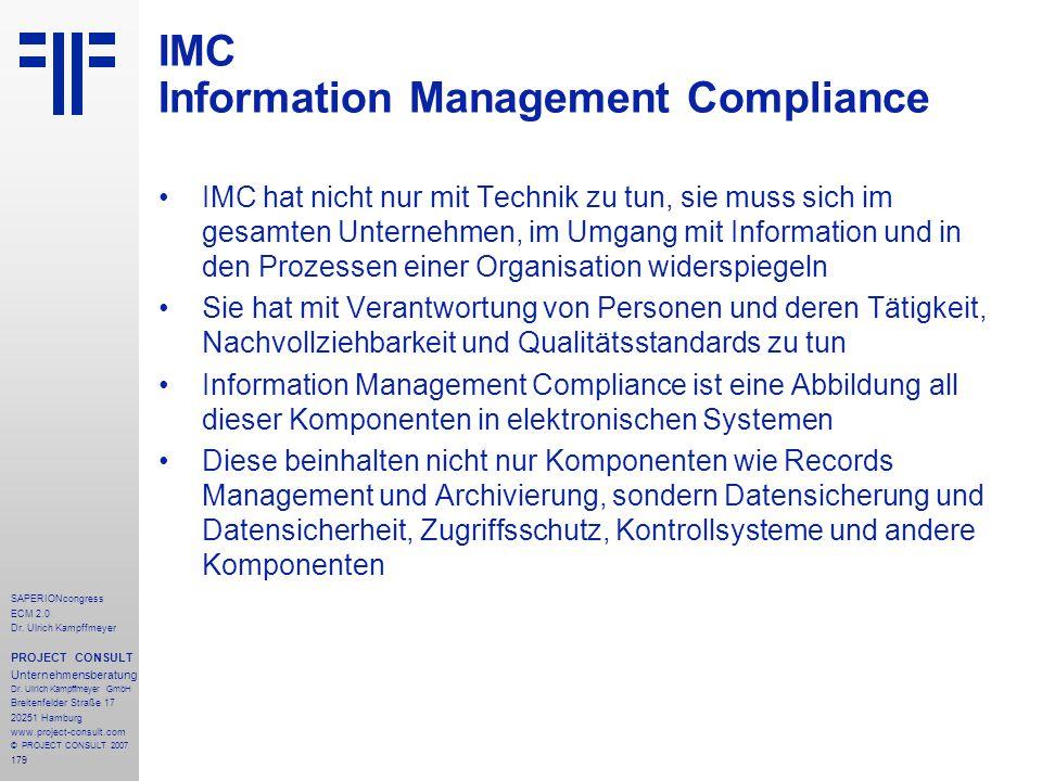 179 SAPERIONcongress ECM 2.0 Dr.Ulrich Kampffmeyer PROJECT CONSULT Unternehmensberatung Dr.