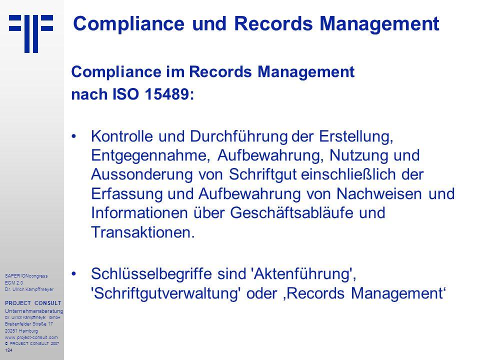 184 SAPERIONcongress ECM 2.0 Dr.Ulrich Kampffmeyer PROJECT CONSULT Unternehmensberatung Dr.