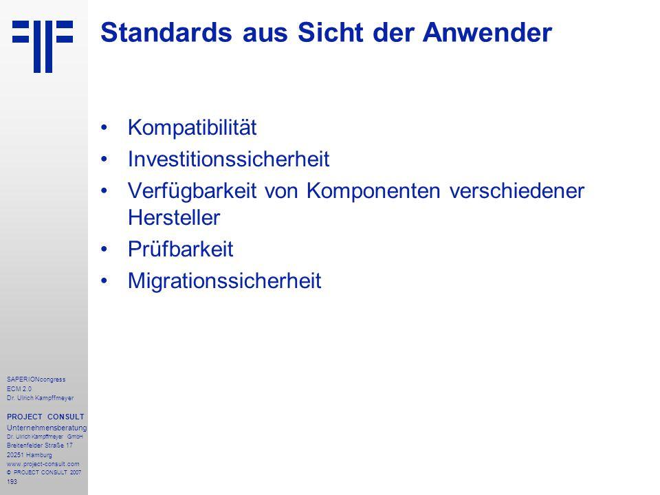 193 SAPERIONcongress ECM 2.0 Dr.Ulrich Kampffmeyer PROJECT CONSULT Unternehmensberatung Dr.