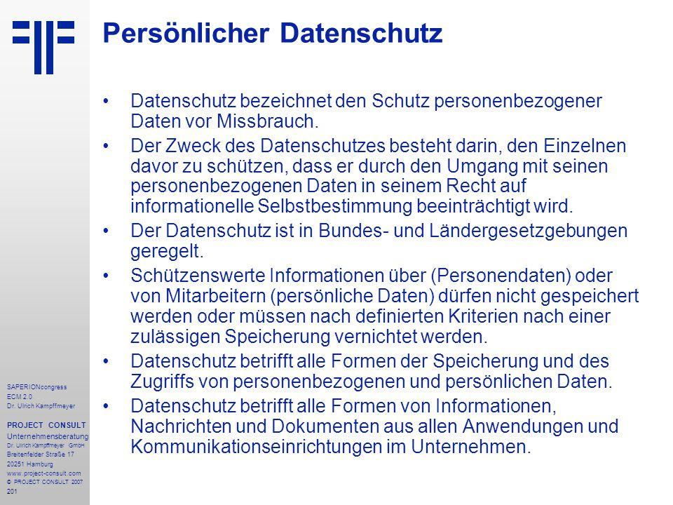 201 SAPERIONcongress ECM 2.0 Dr.Ulrich Kampffmeyer PROJECT CONSULT Unternehmensberatung Dr.