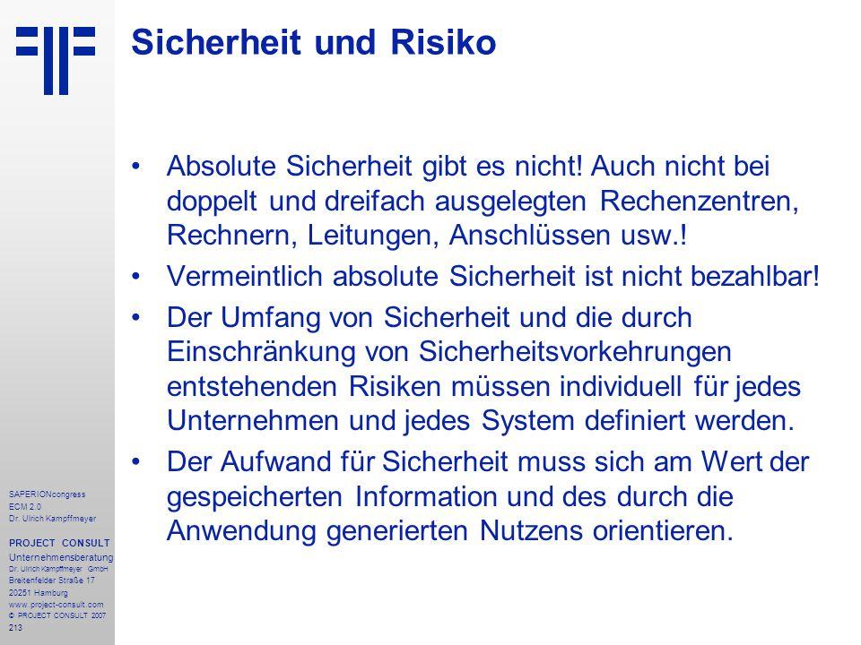213 SAPERIONcongress ECM 2.0 Dr.Ulrich Kampffmeyer PROJECT CONSULT Unternehmensberatung Dr.
