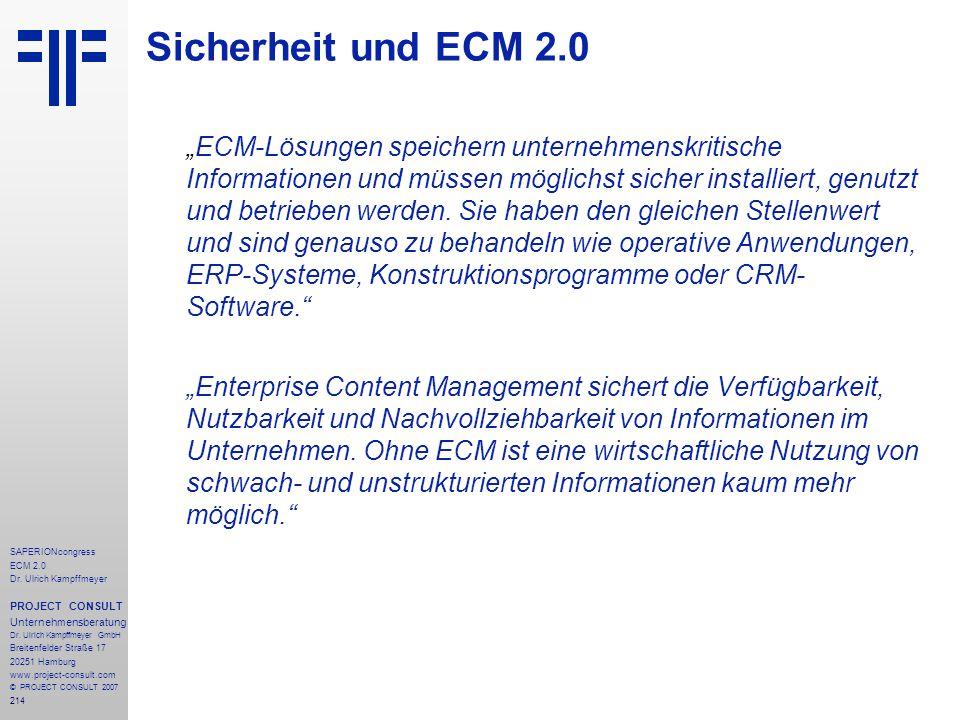 214 SAPERIONcongress ECM 2.0 Dr.Ulrich Kampffmeyer PROJECT CONSULT Unternehmensberatung Dr.