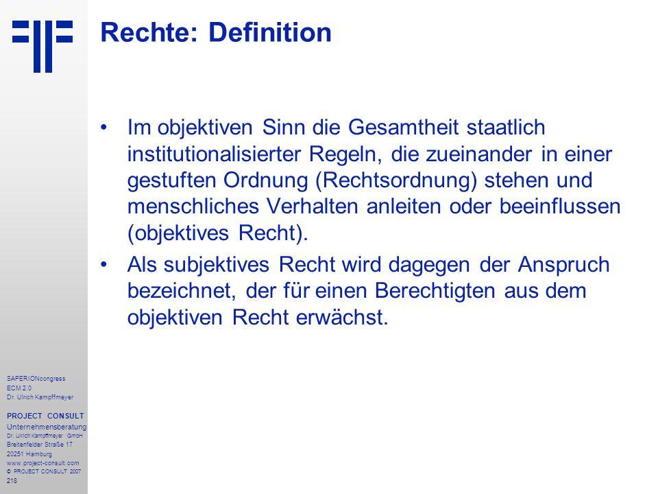 218 SAPERIONcongress ECM 2.0 Dr.Ulrich Kampffmeyer PROJECT CONSULT Unternehmensberatung Dr.