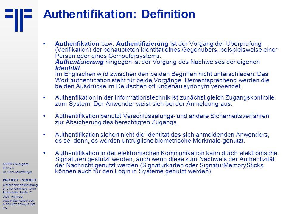 234 SAPERIONcongress ECM 2.0 Dr.Ulrich Kampffmeyer PROJECT CONSULT Unternehmensberatung Dr.