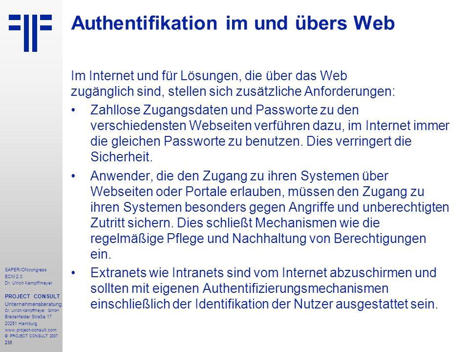 236 SAPERIONcongress ECM 2.0 Dr.Ulrich Kampffmeyer PROJECT CONSULT Unternehmensberatung Dr.