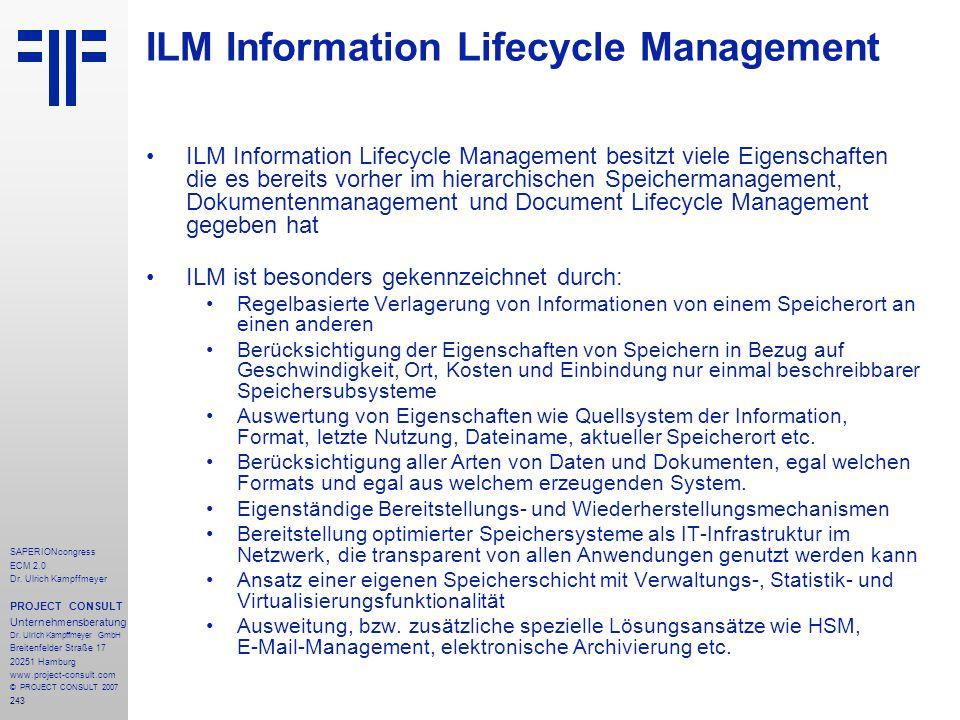 243 SAPERIONcongress ECM 2.0 Dr.Ulrich Kampffmeyer PROJECT CONSULT Unternehmensberatung Dr.