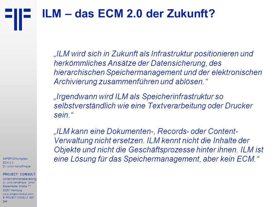 244 SAPERIONcongress ECM 2.0 Dr.Ulrich Kampffmeyer PROJECT CONSULT Unternehmensberatung Dr.