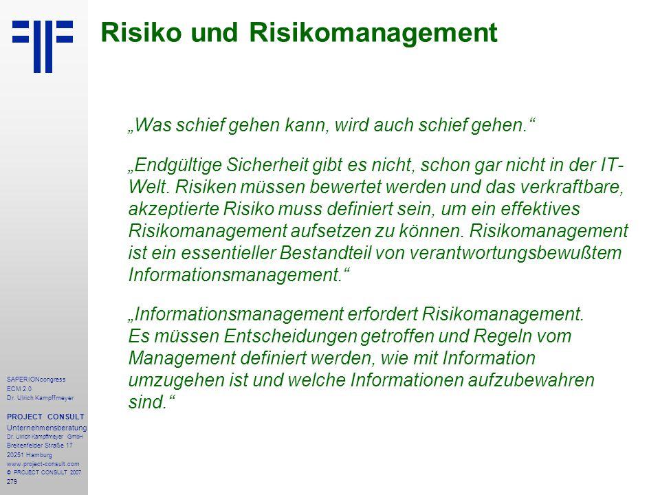 279 SAPERIONcongress ECM 2.0 Dr.Ulrich Kampffmeyer PROJECT CONSULT Unternehmensberatung Dr.