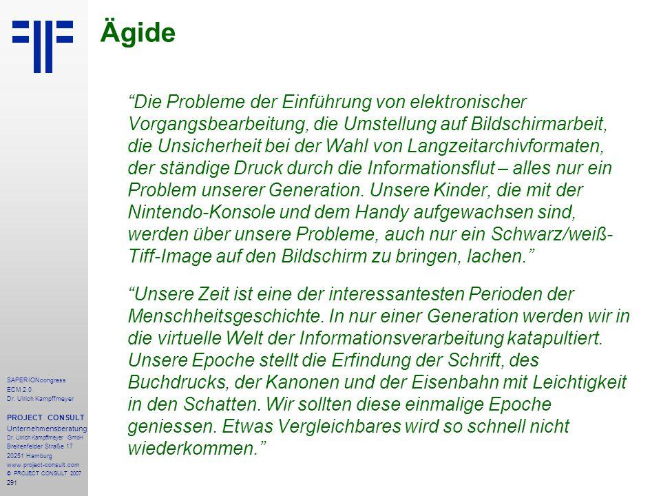 291 SAPERIONcongress ECM 2.0 Dr.Ulrich Kampffmeyer PROJECT CONSULT Unternehmensberatung Dr.