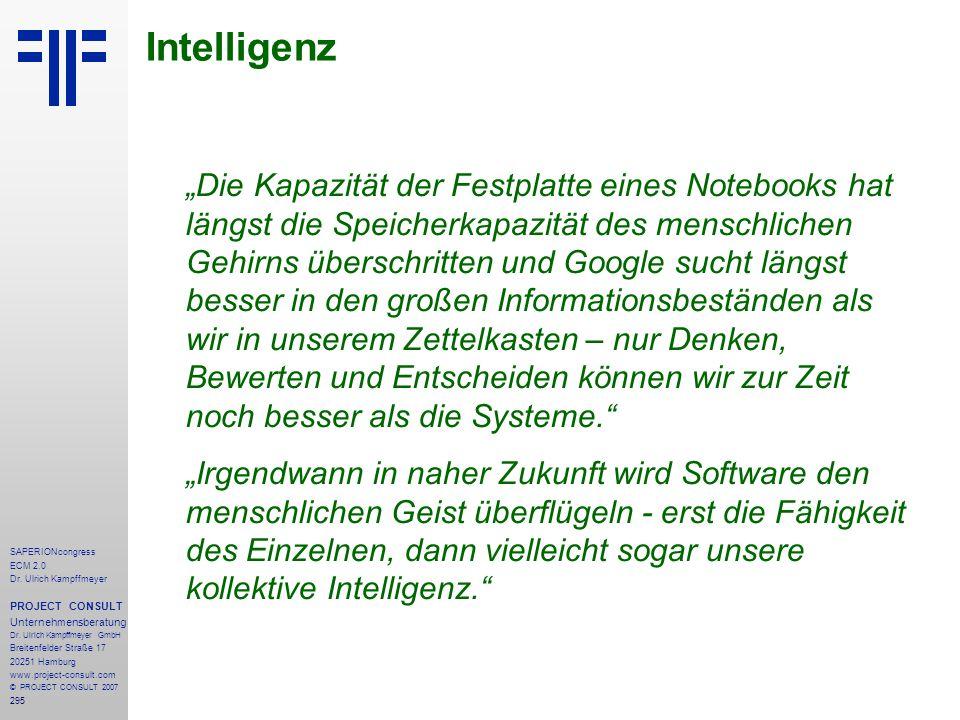 295 SAPERIONcongress ECM 2.0 Dr.Ulrich Kampffmeyer PROJECT CONSULT Unternehmensberatung Dr.