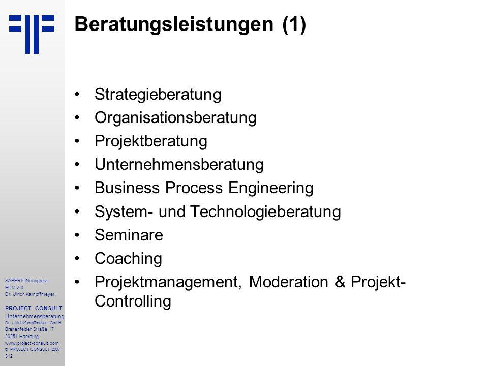 312 SAPERIONcongress ECM 2.0 Dr.Ulrich Kampffmeyer PROJECT CONSULT Unternehmensberatung Dr.