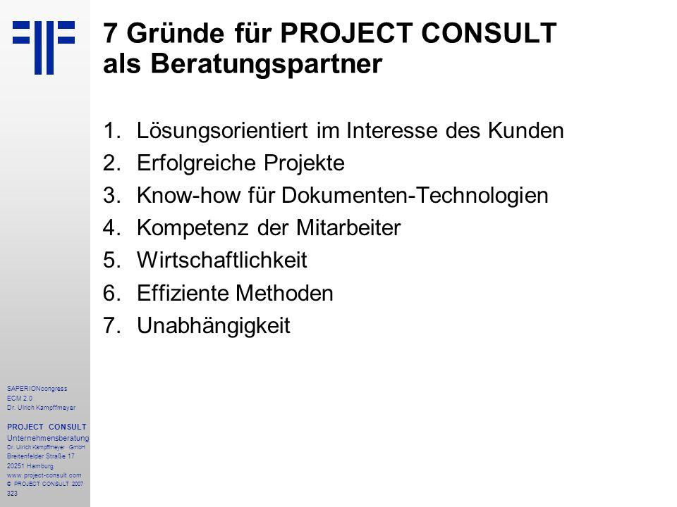 323 SAPERIONcongress ECM 2.0 Dr.Ulrich Kampffmeyer PROJECT CONSULT Unternehmensberatung Dr.