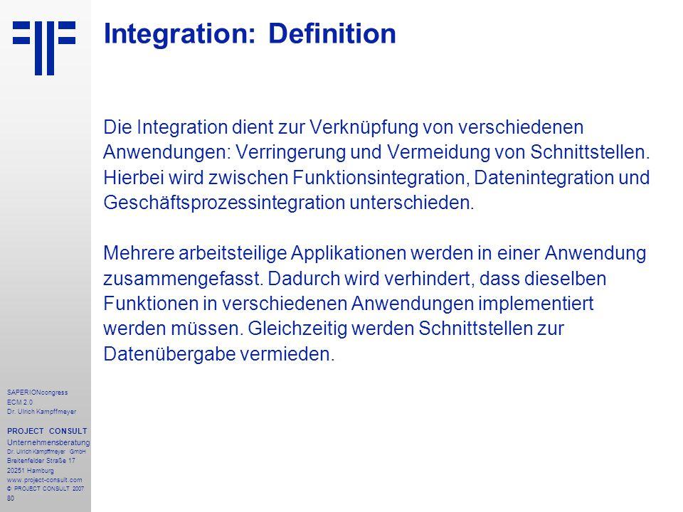 80 SAPERIONcongress ECM 2.0 Dr.Ulrich Kampffmeyer PROJECT CONSULT Unternehmensberatung Dr.