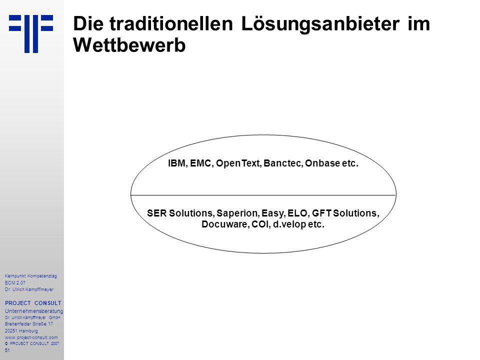 51 Kernpunkt Kompetenztag ECM 2.0. Dr. Ulrich Kampffmeyer PROJECT CONSULT Unternehmensberatung Dr.