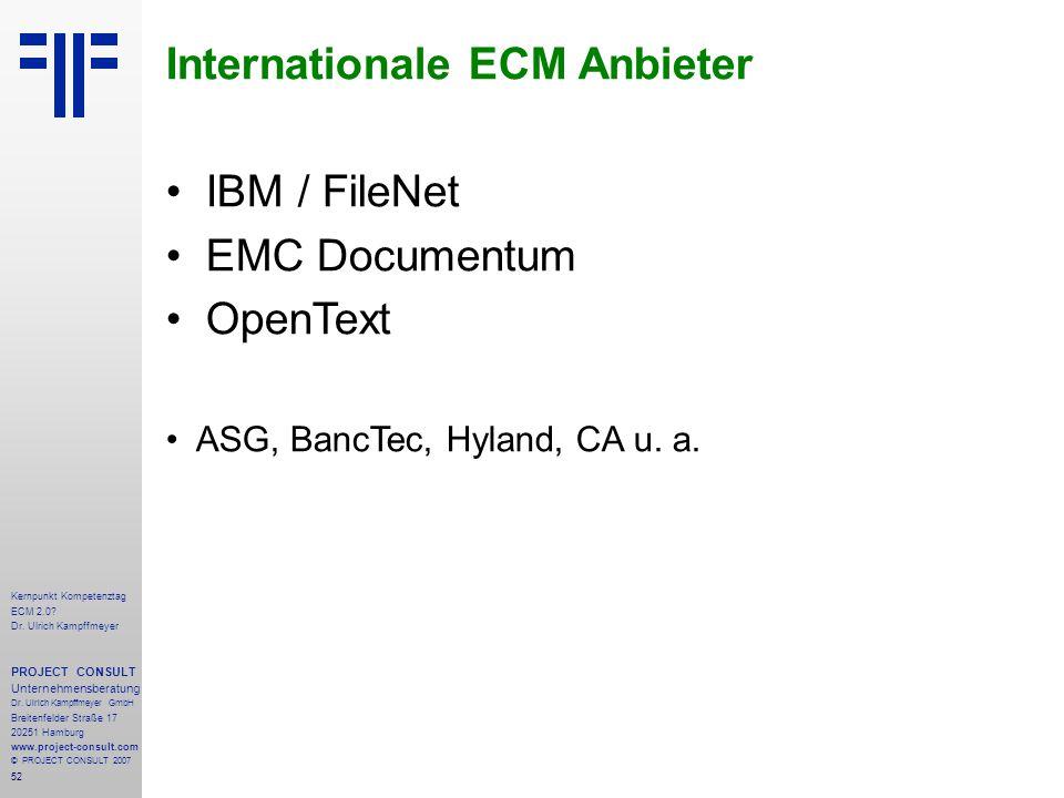 52 Kernpunkt Kompetenztag ECM 2.0. Dr. Ulrich Kampffmeyer PROJECT CONSULT Unternehmensberatung Dr.