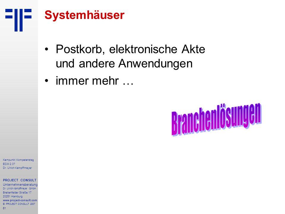 61 Kernpunkt Kompetenztag ECM 2.0. Dr. Ulrich Kampffmeyer PROJECT CONSULT Unternehmensberatung Dr.